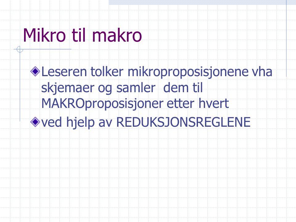 Mikro til makro Leseren tolker mikroproposisjonene vha skjemaer og samler dem til MAKROproposisjoner etter hvert.