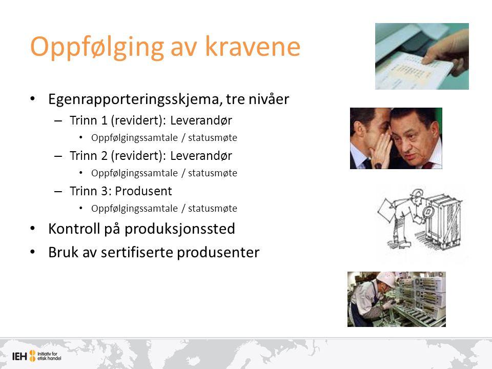 Oppfølging av kravene Egenrapporteringsskjema, tre nivåer