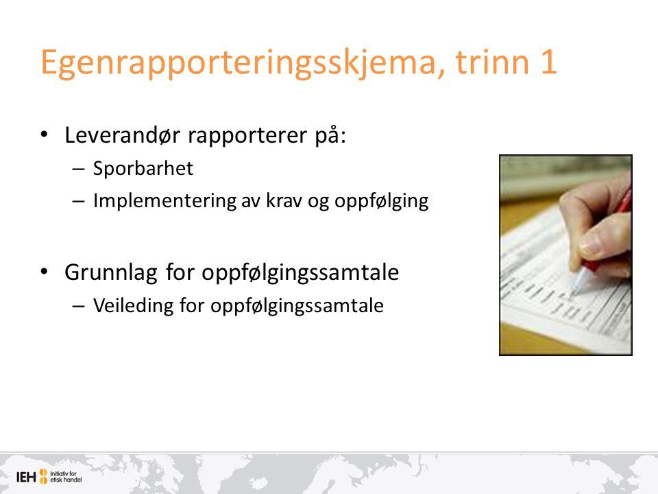 Egenrapporteringsskjema, trinn 1