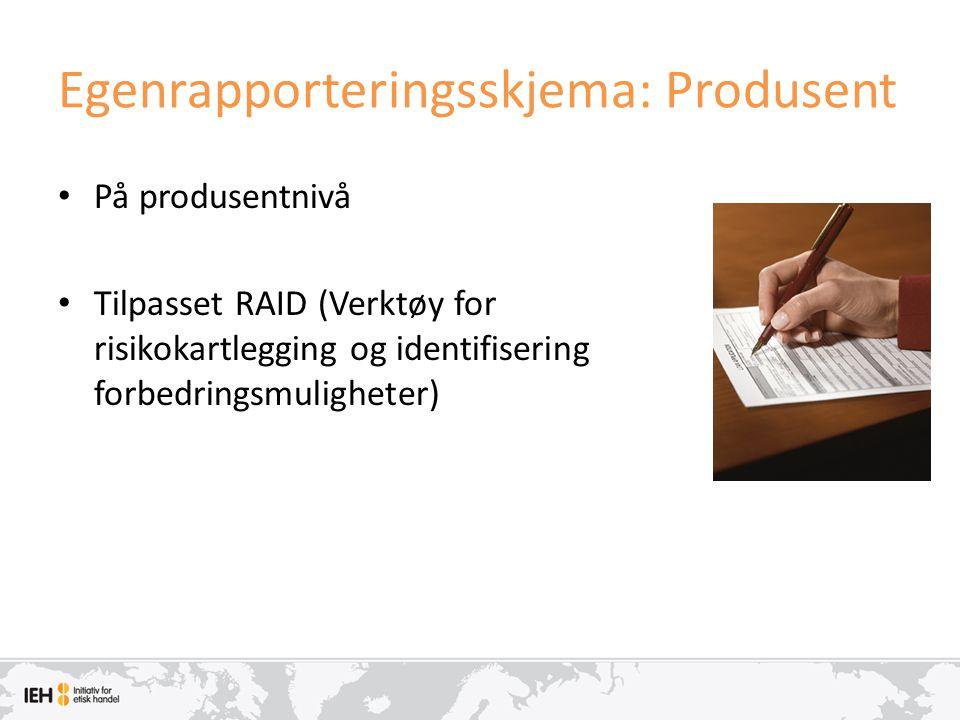 Egenrapporteringsskjema: Produsent