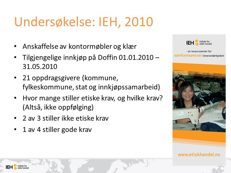 Undersøkelse: IEH, 2010 Anskaffelse av kontormøbler og klær