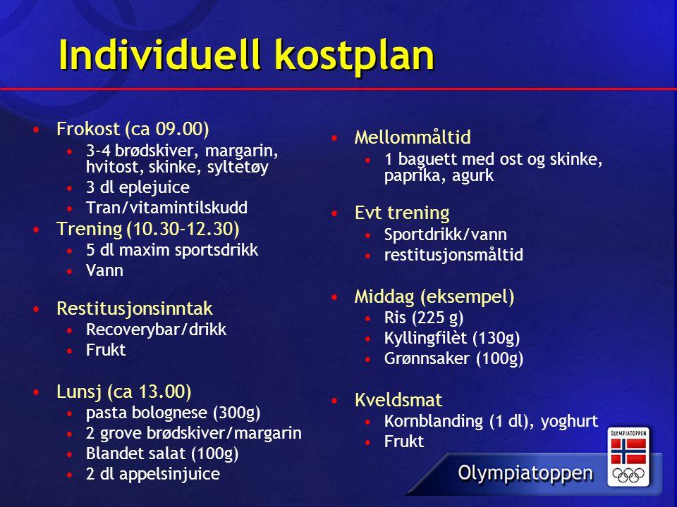 Individuell kostplan Mellommåltid Frokost (ca 09.00) Evt trening