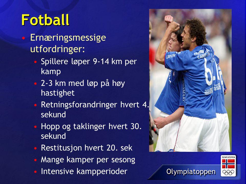 Fotball Ernæringsmessige utfordringer: Spillere løper 9-14 km per kamp