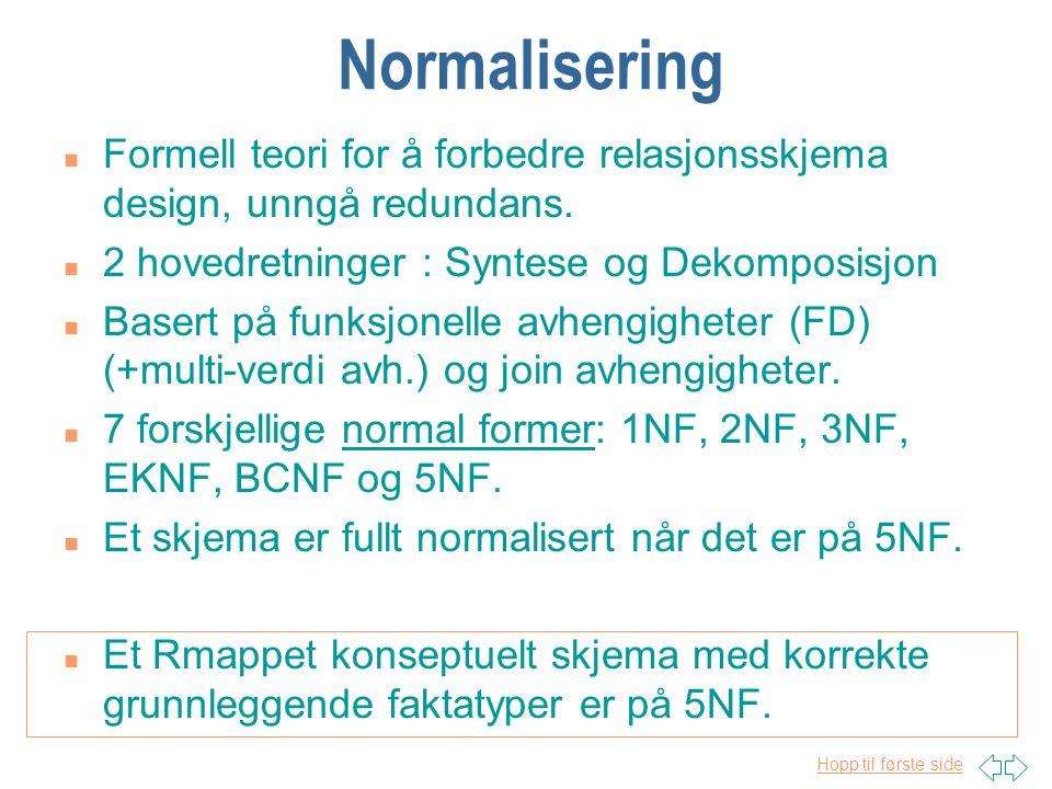 Normalisering Formell teori for å forbedre relasjonsskjema design, unngå redundans. 2 hovedretninger : Syntese og Dekomposisjon.