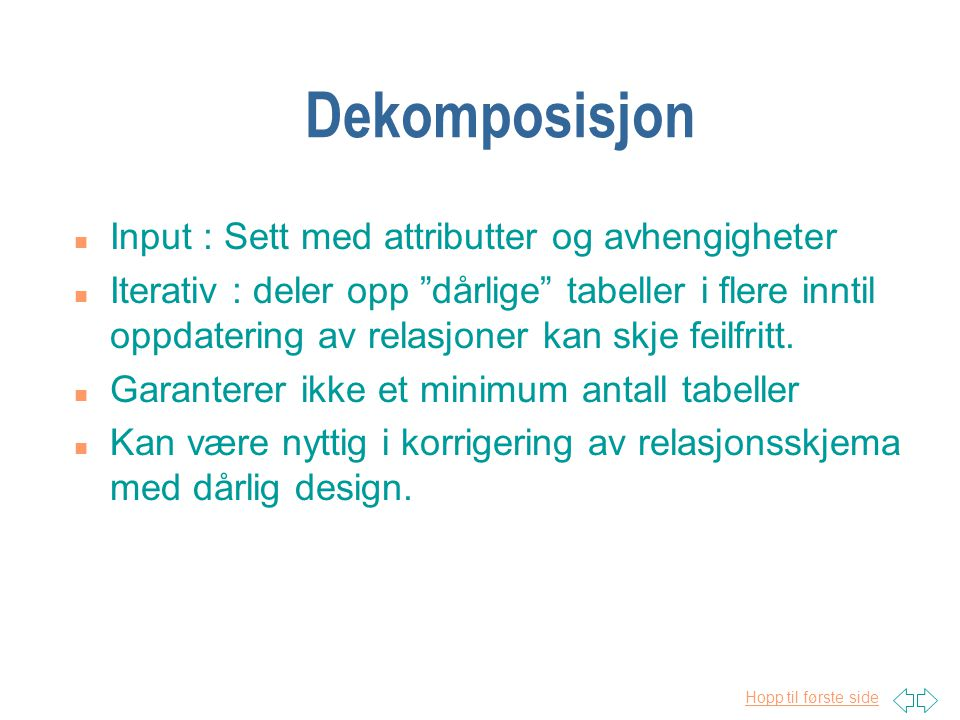 Dekomposisjon Input : Sett med attributter og avhengigheter