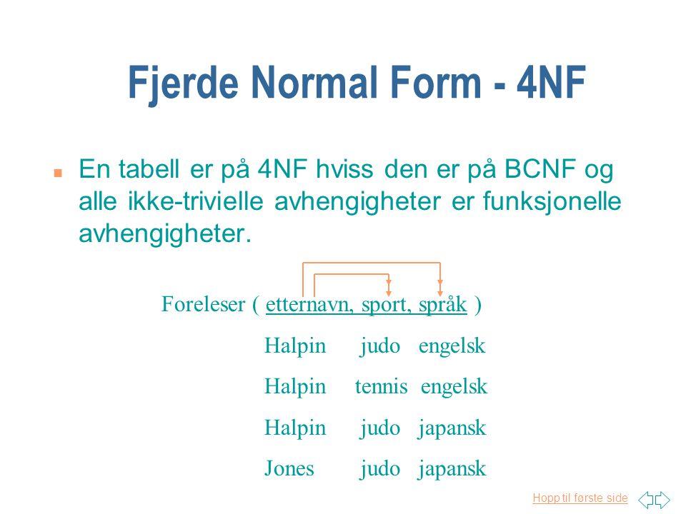 Fjerde Normal Form - 4NF En tabell er på 4NF hviss den er på BCNF og alle ikke-trivielle avhengigheter er funksjonelle avhengigheter.