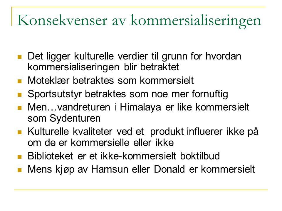 Konsekvenser av kommersialiseringen