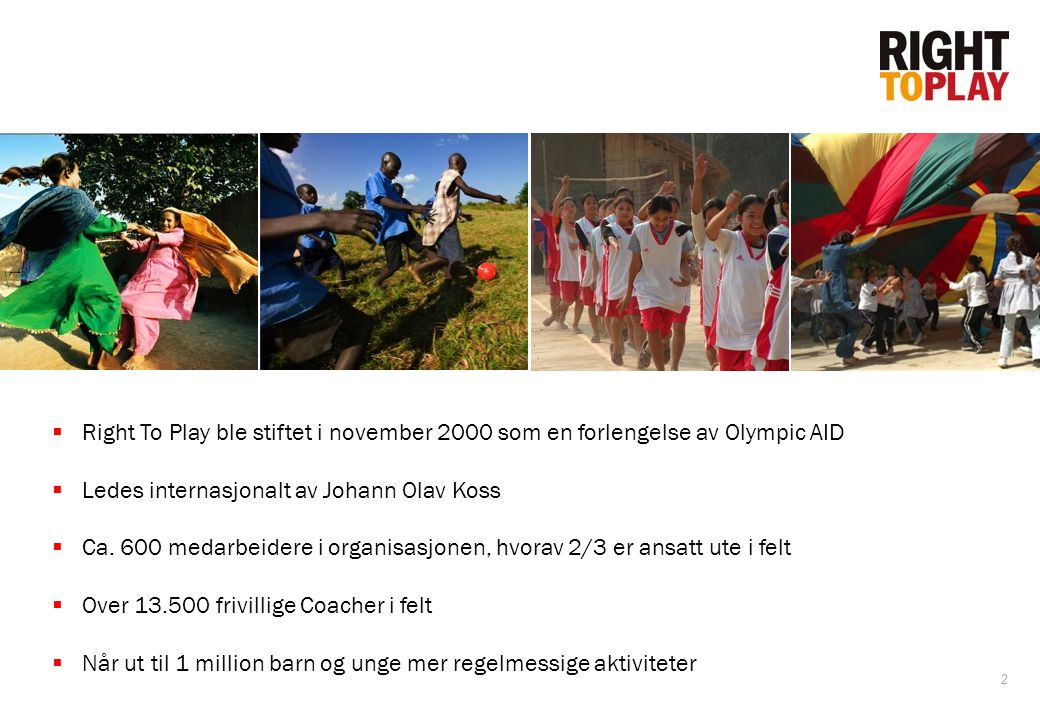 Right To Play ble stiftet i november 2000 som en forlengelse av Olympic AID