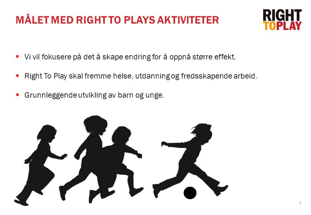 MÅLET MED RIGHT TO PLAYS AKTIVITETER