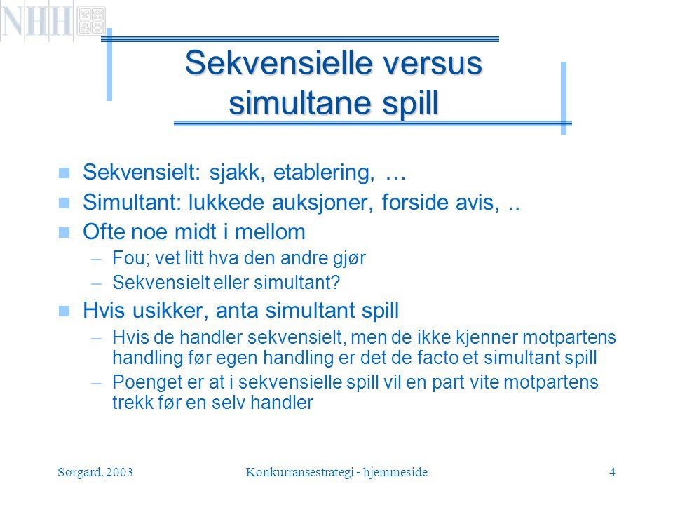 Sekvensielle versus simultane spill