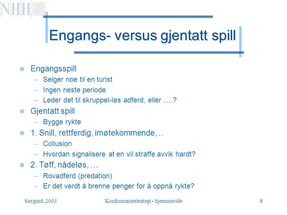 Engangs- versus gjentatt spill