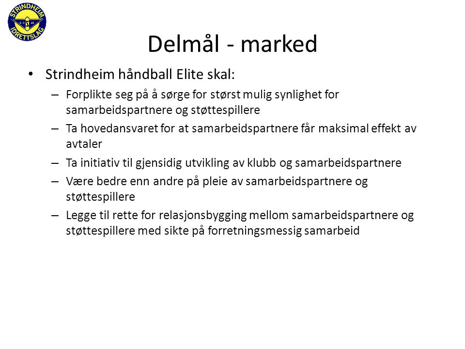 Delmål - marked Strindheim håndball Elite skal: