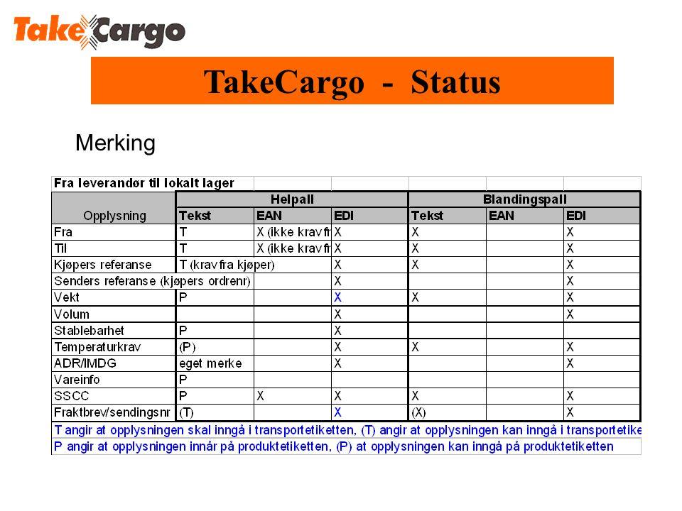 TakeCargo - Status Merking