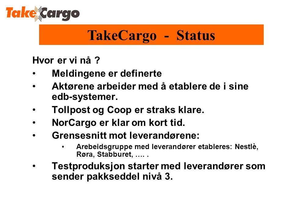 TakeCargo - Status Hvor er vi nå Meldingene er definerte