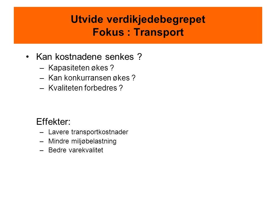 Utvide verdikjedebegrepet Fokus : Transport