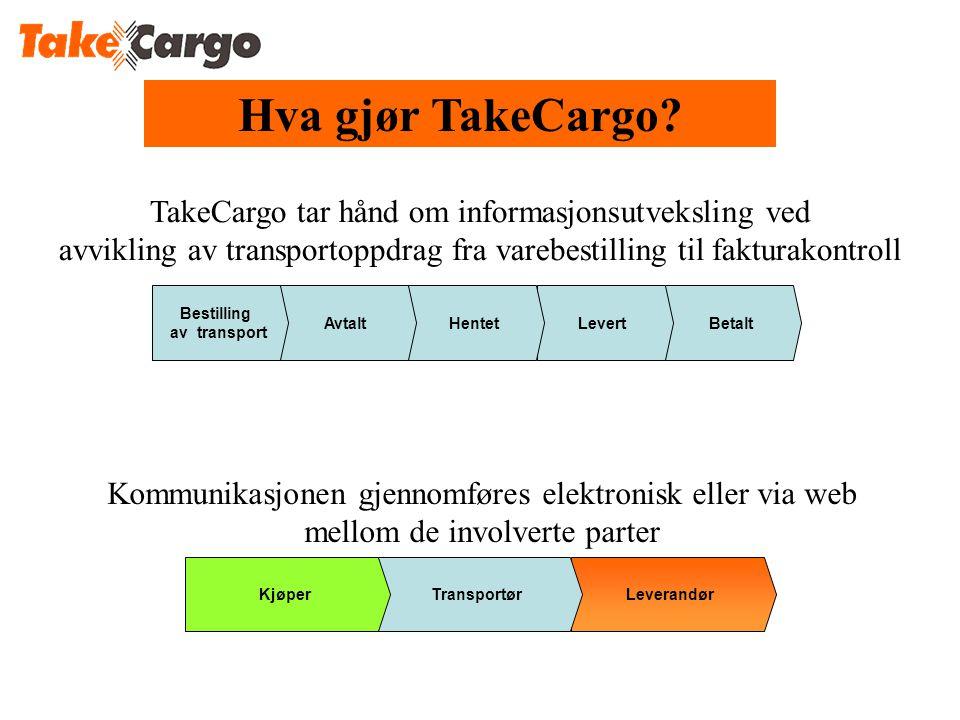 Hva gjør TakeCargo TakeCargo tar hånd om informasjonsutveksling ved