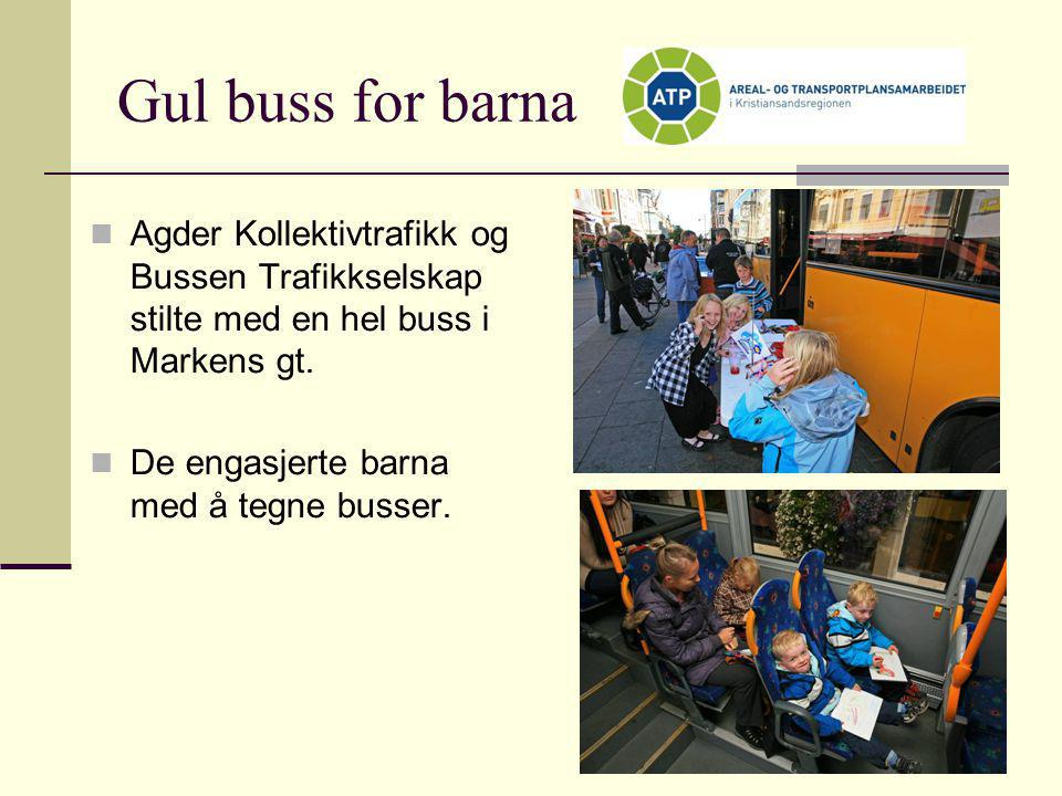 Gul buss for barna Agder Kollektivtrafikk og Bussen Trafikkselskap stilte med en hel buss i Markens gt.