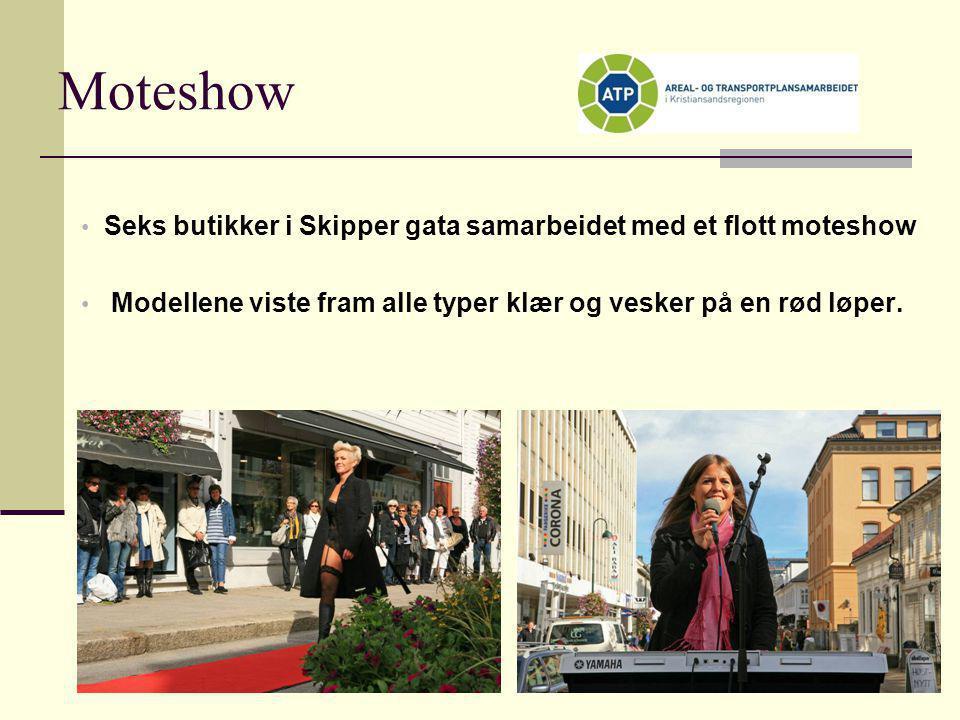 Moteshow Seks butikker i Skipper gata samarbeidet med et flott moteshow. Modellene viste fram alle typer klær og vesker på en rød løper.