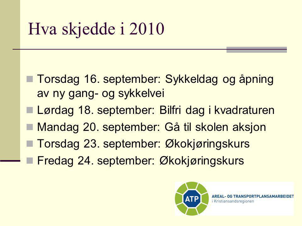 Hva skjedde i 2010 Torsdag 16. september: Sykkeldag og åpning av ny gang- og sykkelvei. Lørdag 18. september: Bilfri dag i kvadraturen.