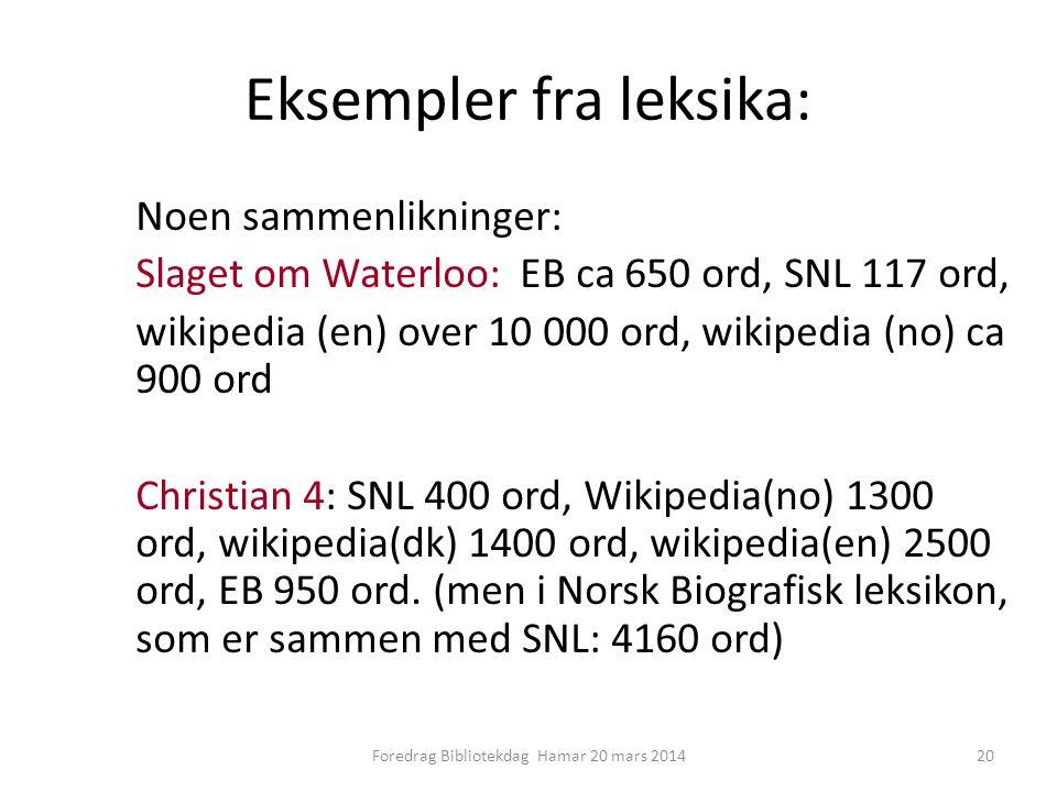 Eksempler fra leksika: