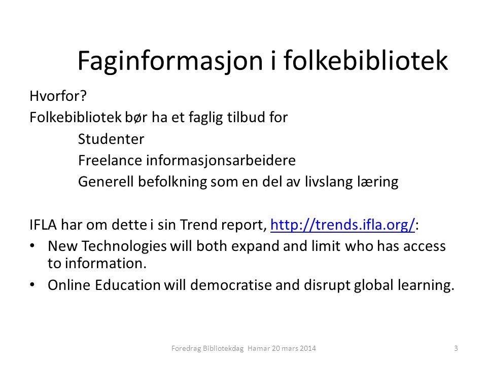 Faginformasjon i folkebibliotek