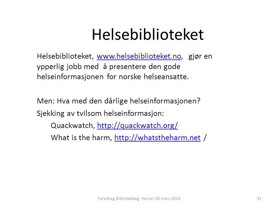 Foredrag Bibliotekdag Hamar 20 mars 2014