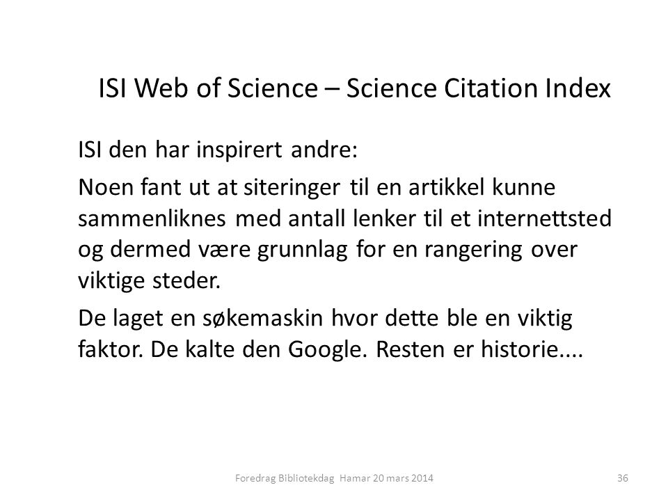 ISI Web of Science – Science Citation Index