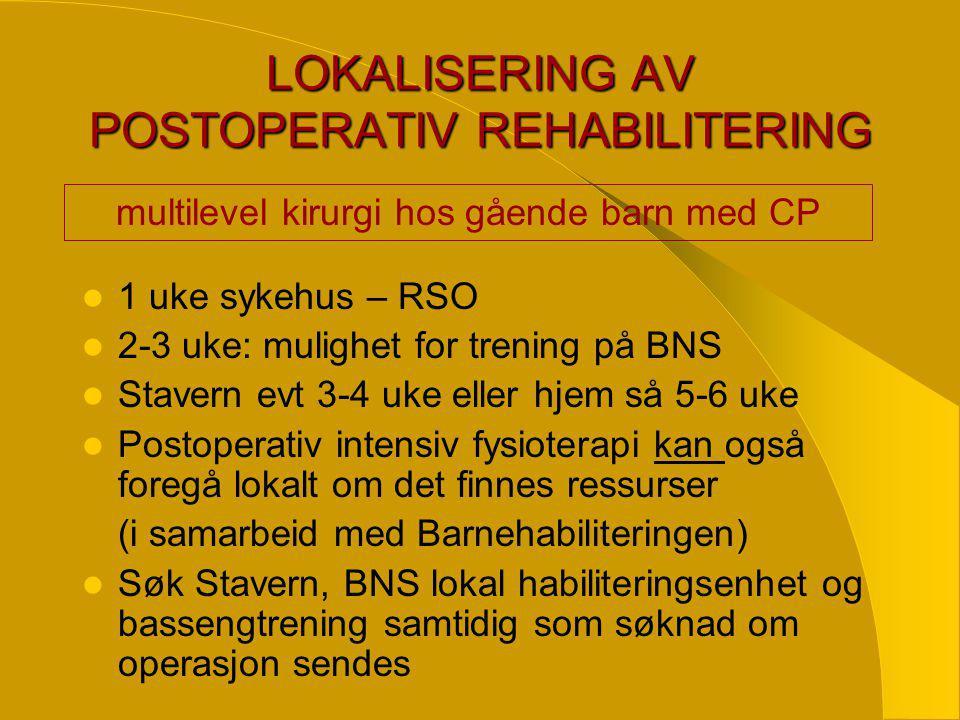 LOKALISERING AV POSTOPERATIV REHABILITERING