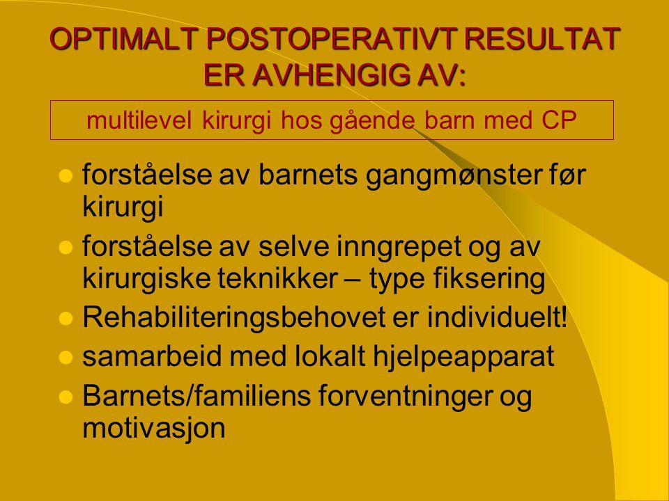 OPTIMALT POSTOPERATIVT RESULTAT ER AVHENGIG AV: