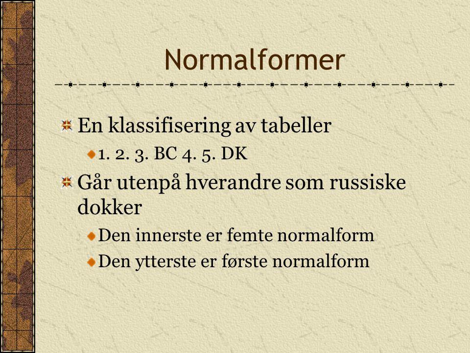 Normalformer En klassifisering av tabeller