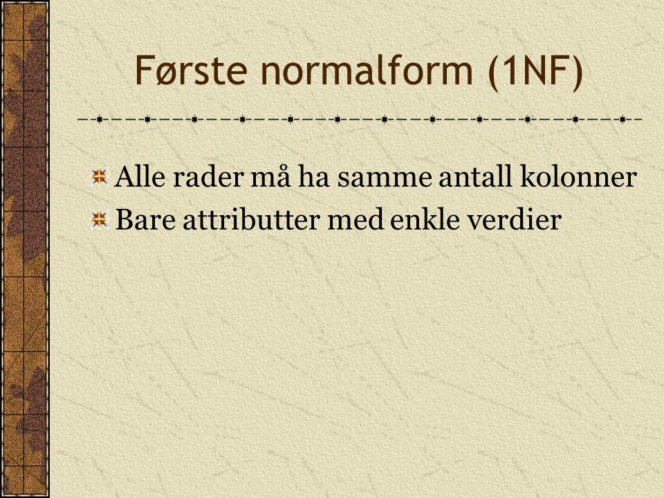Første normalform (1NF)