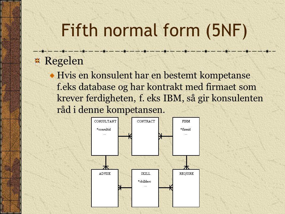 Fifth normal form (5NF) Regelen