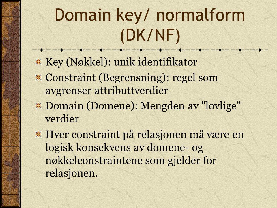 Domain key/ normalform (DK/NF)