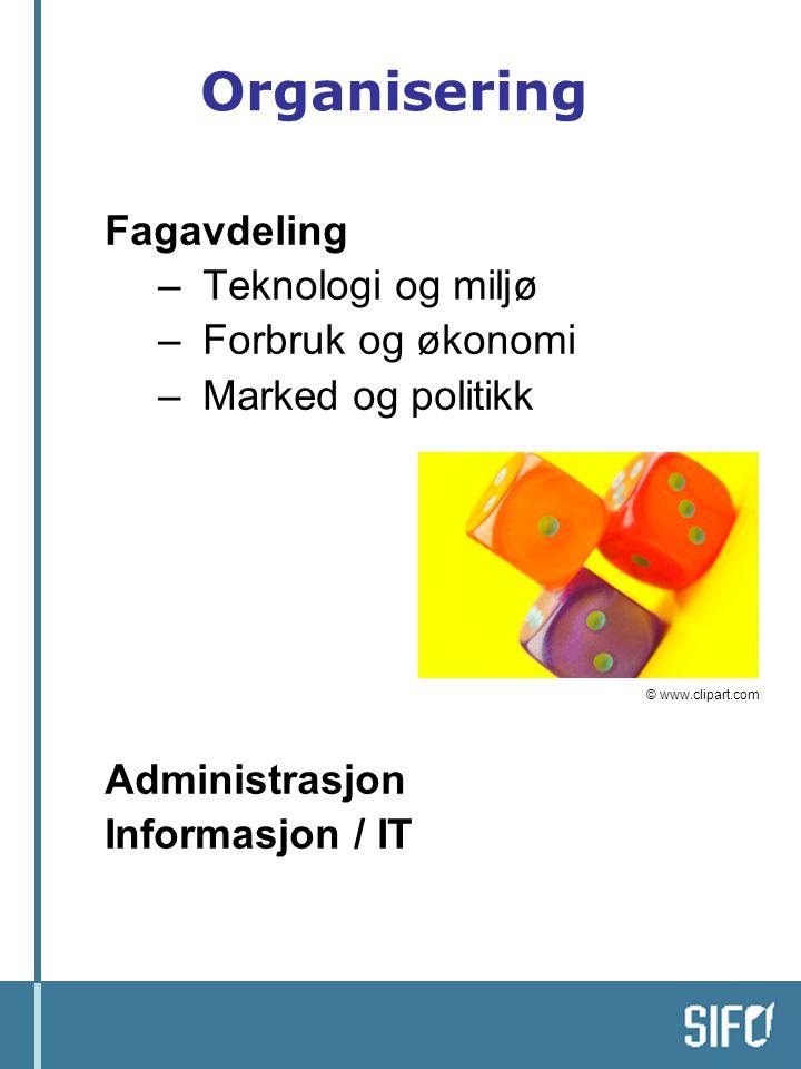 Organisering Fagavdeling Teknologi og miljø Forbruk og økonomi