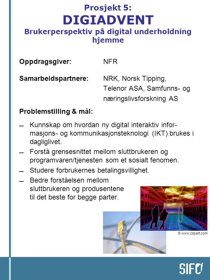 Prosjekt 5: DIGIADVENT Brukerperspektiv på digital underholdning hjemme