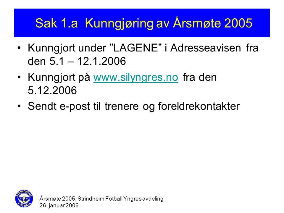 Sak 1.a Kunngjøring av Årsmøte 2005