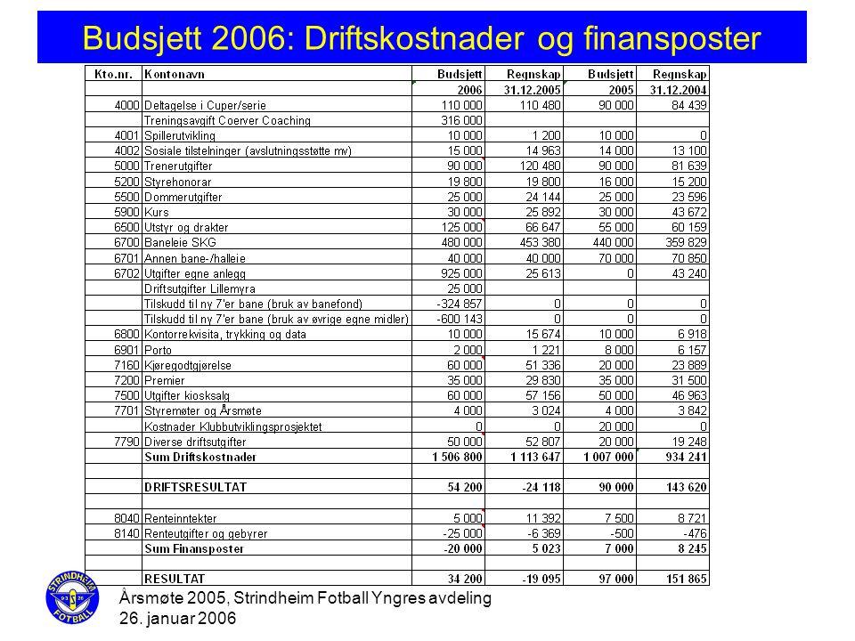 Budsjett 2006: Driftskostnader og finansposter