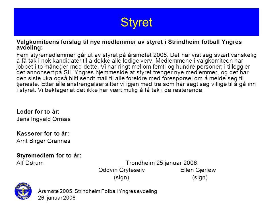 Styret Valgkomiteens forslag til nye medlemmer av styret i Strindheim fotball Yngres avdeling: