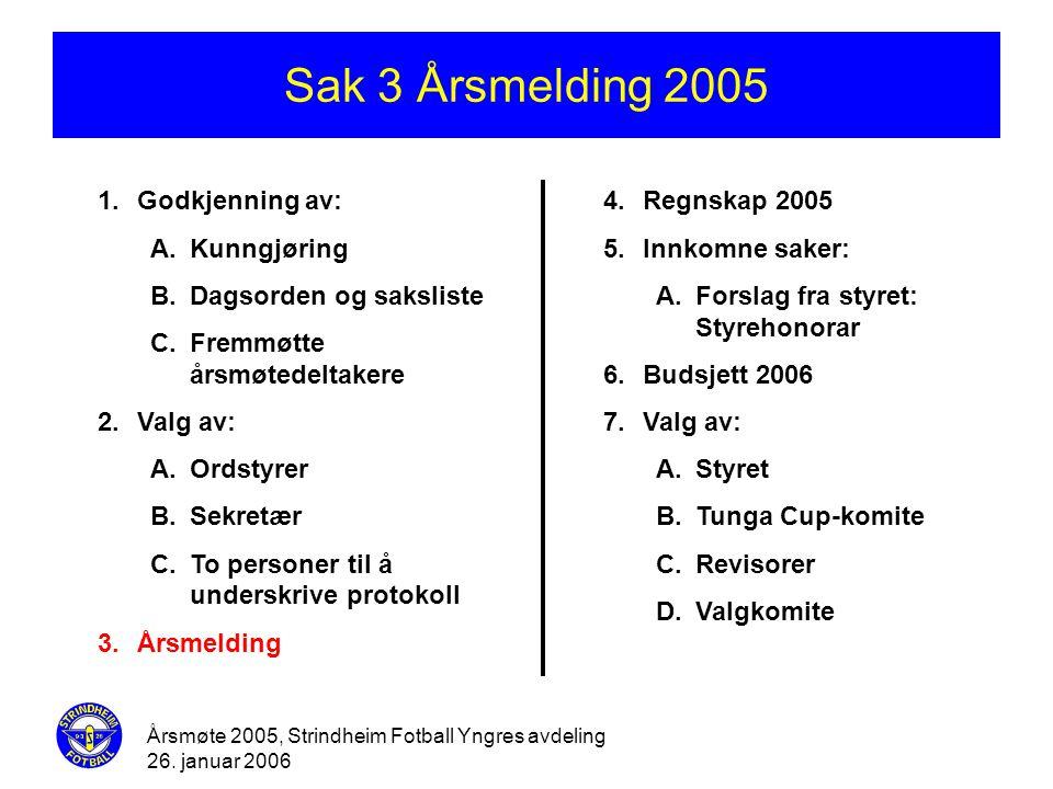Sak 3 Årsmelding 2005 Godkjenning av: Kunngjøring