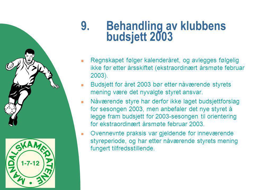 9. Behandling av klubbens budsjett 2003