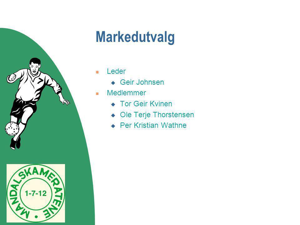 Markedutvalg Leder Geir Johnsen Medlemmer Tor Geir Kvinen