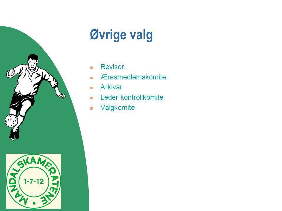 Øvrige valg Revisor Æresmedlemskomite Arkivar Leder kontrollkomite