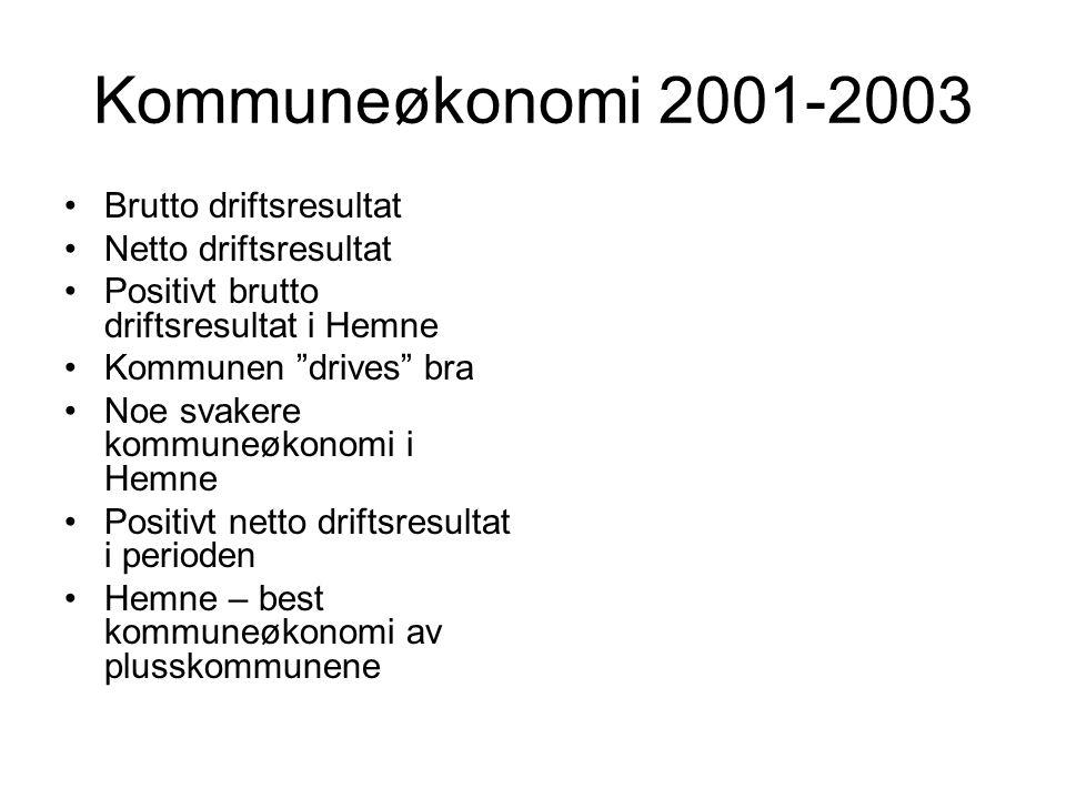 Kommuneøkonomi 2001-2003 Brutto driftsresultat Netto driftsresultat