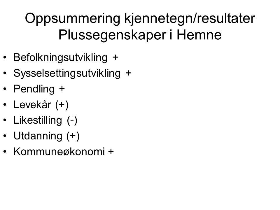 Oppsummering kjennetegn/resultater Plussegenskaper i Hemne