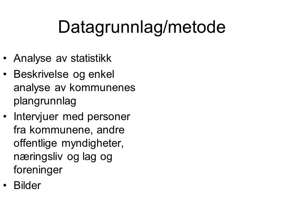 Datagrunnlag/metode Analyse av statistikk