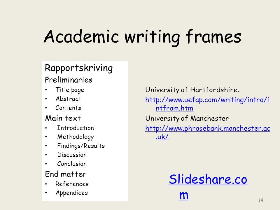 Academic writing frames