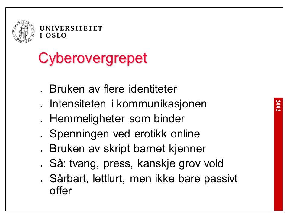 Cyberovergrepet Bruken av flere identiteter