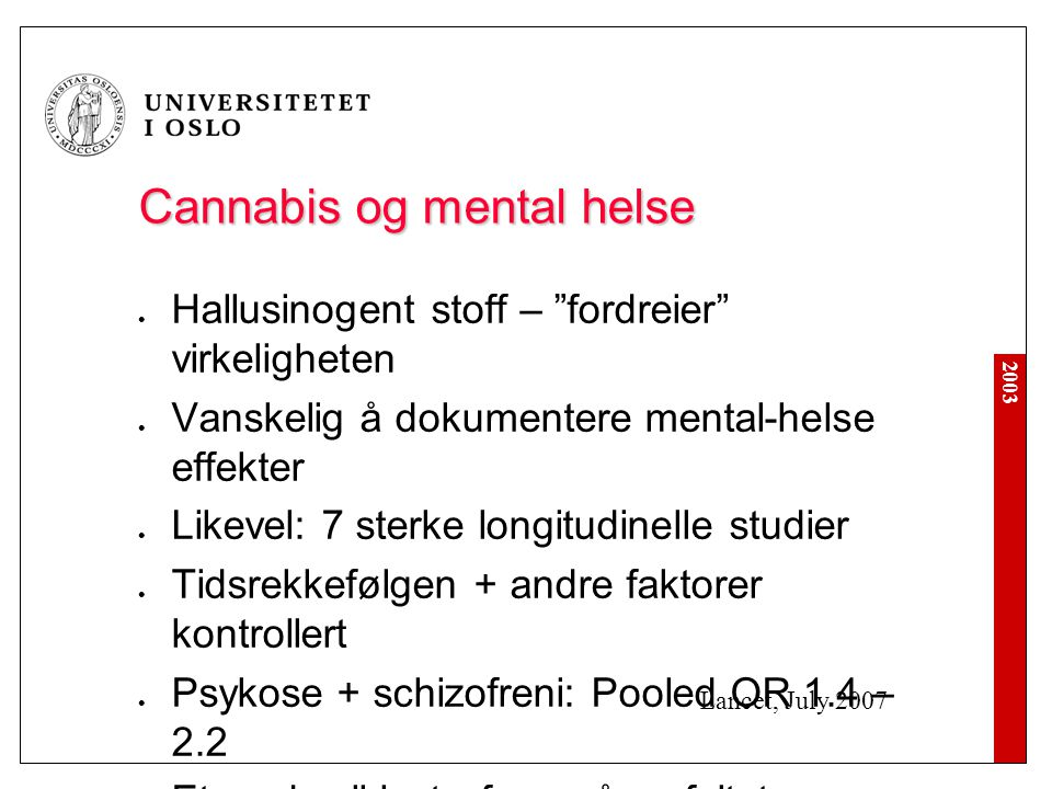 Cannabis og mental helse