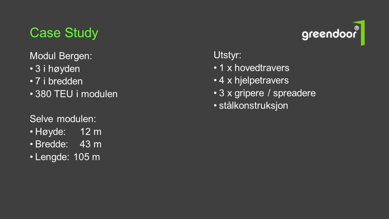 Case Study Modul Bergen: Utstyr: 1 x hovedtravers 3 i høyden