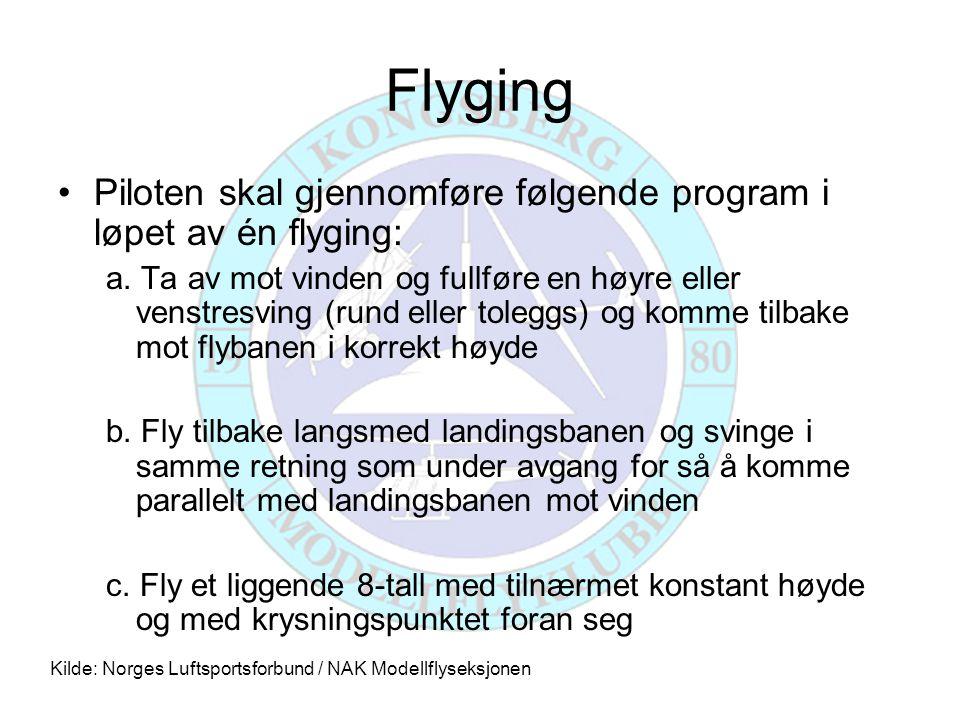 Flyging Piloten skal gjennomføre følgende program i løpet av én flyging: